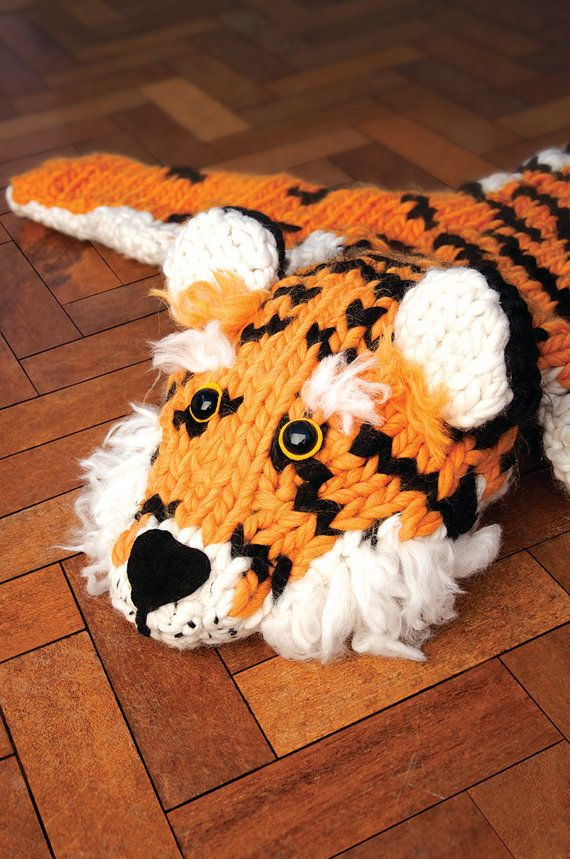 Giant Tiger Rug 'Faux Taxidermy Knits' Knitting by sincerelylouise