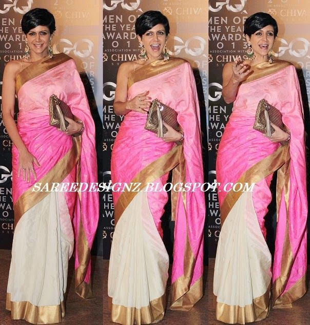 SareeDesignz: Mandira Bedi in Silk Saree of Her Own Design
