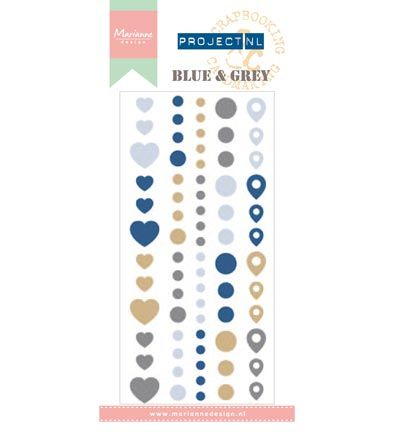 Marianne Design Project NL Enamel Adhesive stickers - Blue & Gre