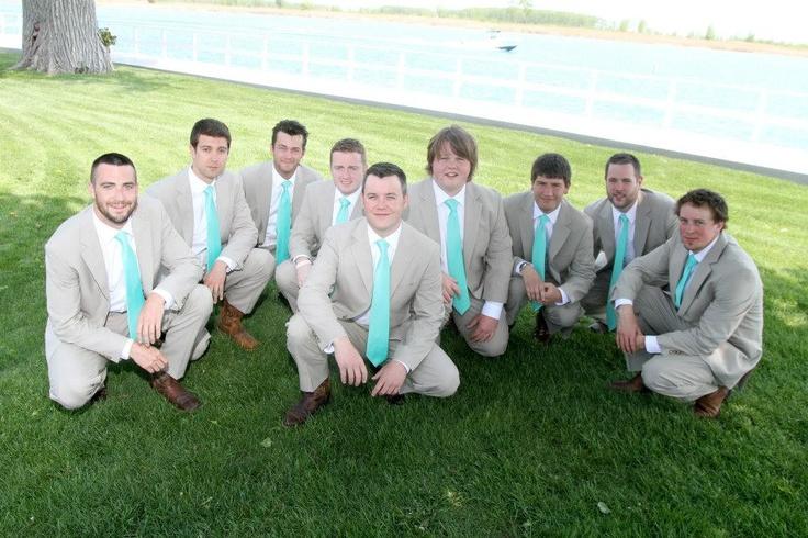 Groomsmen Khaki Suits And Turquoise Ties My Wedding
