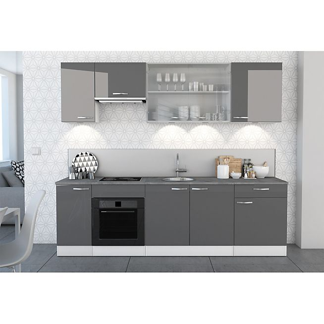 elite grise gamme de meubles de cuisine gris laqus - Cuisine Blanc Gris Taupe