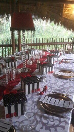 Red, black, white & crystal dinner table.