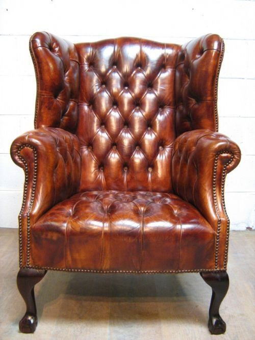 full button down chesterfield tan leather wing armchair