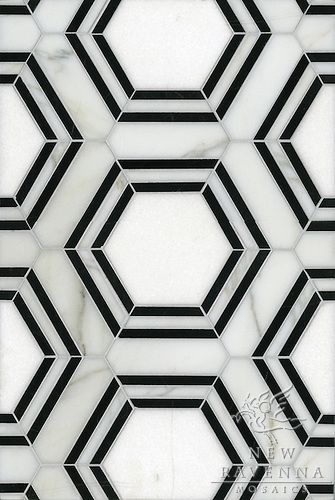 Impossibly chic black and white hex marble tiles for miles.