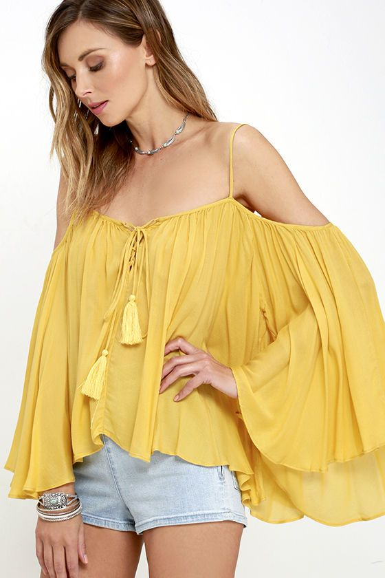 Breezy Yellow Top - Cold Shoulder Top - Lace-Up Top - $44.00