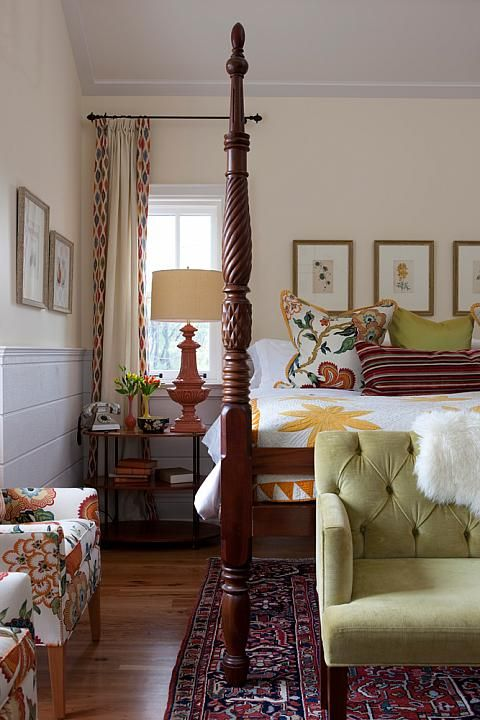 Isn't this a cozy bedroom? It could be a master. I think it would make a lovely guest bedroom! master bedroom layering sarah richardson