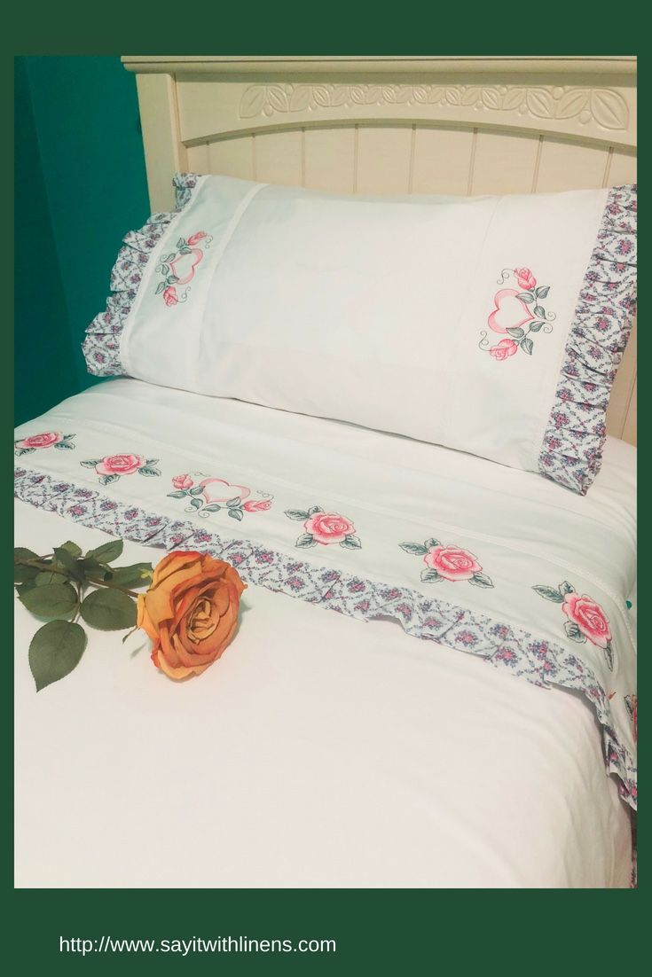 Embroidered Bed Sheets, Bed Sheets With Flowers, Organic Bed Sheets, Personalized  Bed Sheets.
