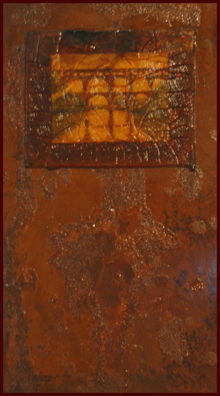Serie Ambar Aqueduto de Nimes Técnica mista sobre metal  45x80 1998 /  João Feijó Fine Art.