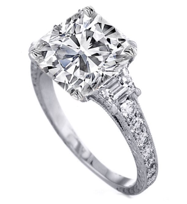 Three Stone Cushion Diamond Engagement Ring with Trapezoids