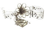 Gramophone-Flower Tattoo by ~AsDePique on deviantART
