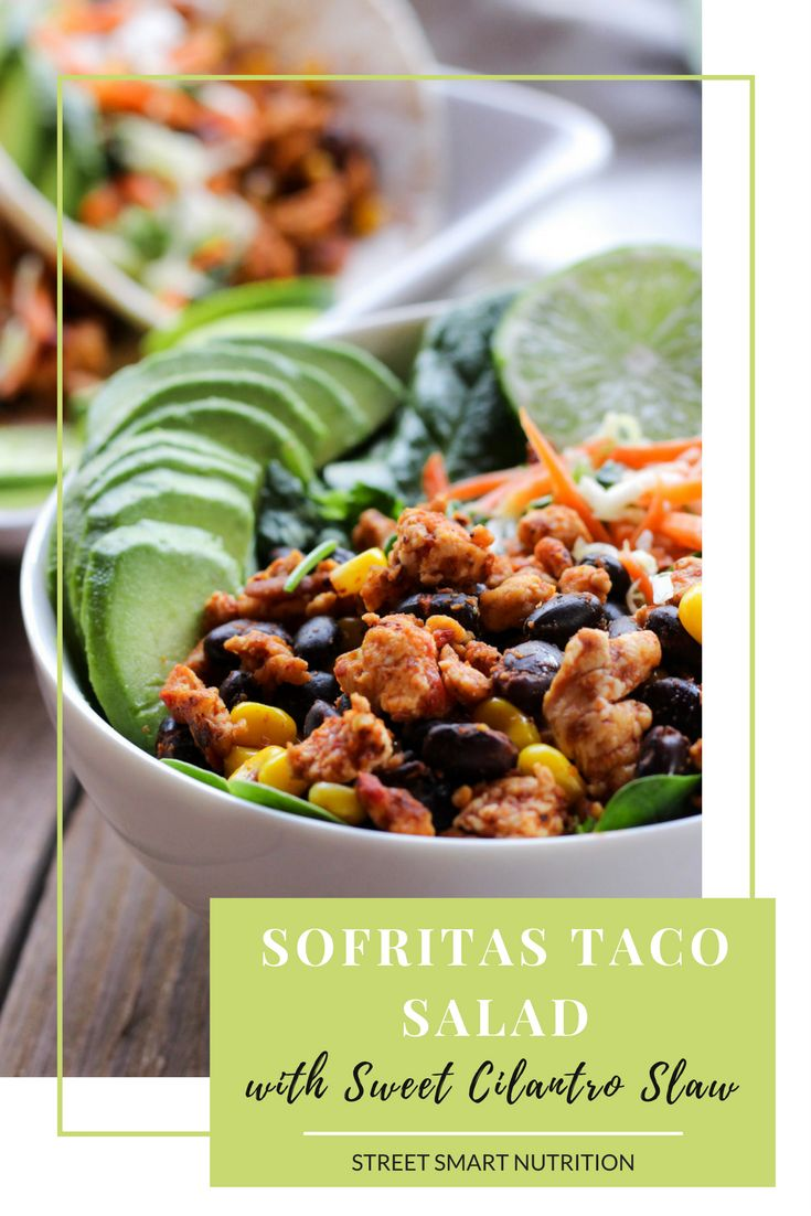 Try this Sofritas Taco Salad for a #vegan option for #TacoTuesday. Find the full recipe on the Street Smart Nutrition Blog