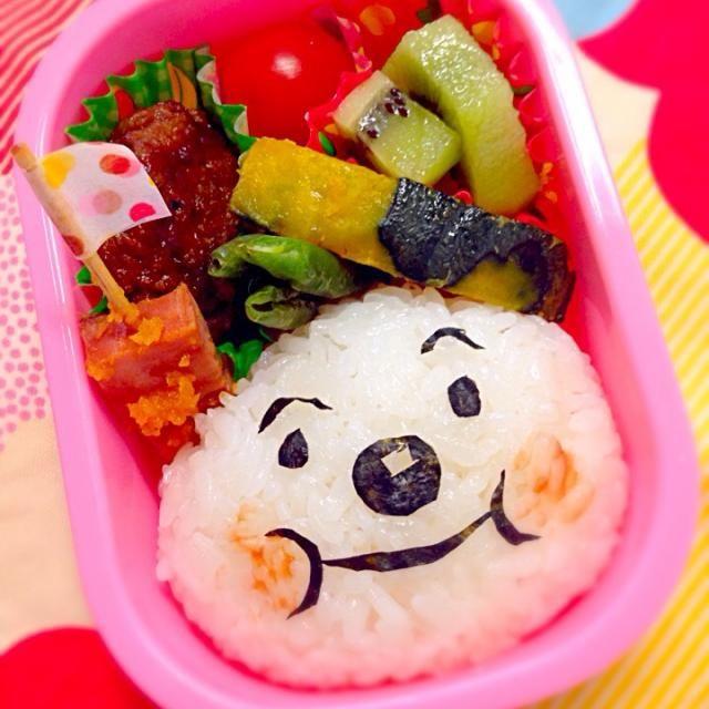 夏休み前、最後のお弁当!  ハンバーグ かぼちゃといんげんのバター炒め 焼き豚にんじんドレッシング炒め トマト キウイ アンパンマンごはん - 16件のもぐもぐ - 7月14日幼稚園お弁当 by naoko