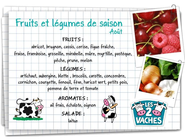 Les fruits et l gumes de saison ao t alimentation pinterest blog fruit and legumes - Fruit et legumes de saisons ...