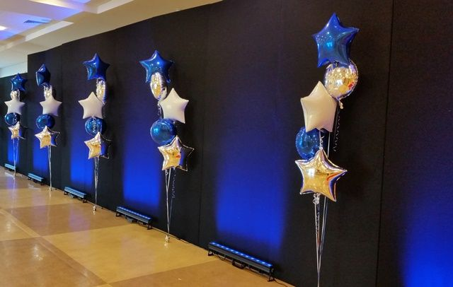we created these #helium floor-standing #balloon #clusters to fit the #blue and #silver #event #colourscheme and #star theme for #StoryHomes #starawards