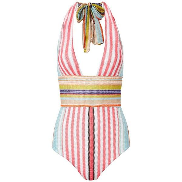 Missoni Mare Women's Striped One Piece Swimsuit (45,490 INR) ❤ liked on Polyvore featuring swimwear, one-piece swimsuits, stripe, 1 piece swimsuit, one piece bathing suits, swim suits, halter one piece bathing suit and 1 piece bathing suits