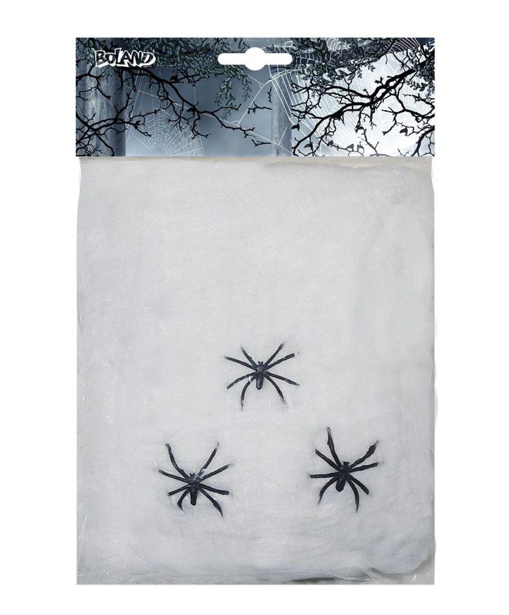 Hämähäkinverkko 20 g, valkoinen ja 3 hämähäkkiä