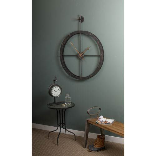 Teagan Black Wall Clock Cooper Classics Wall Mounted Clock Clocks Home Decor