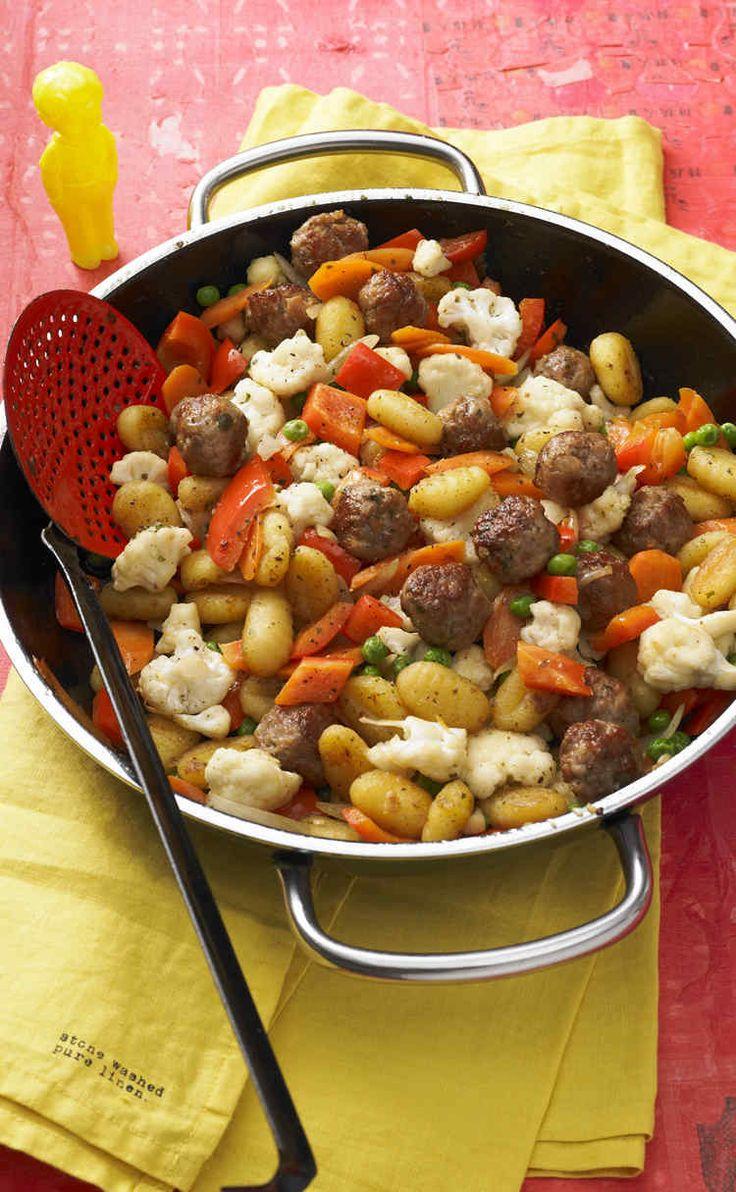 Chefkoch-Kids: Gnocchi-Gemüse-Pfanne mit Mettbällchen