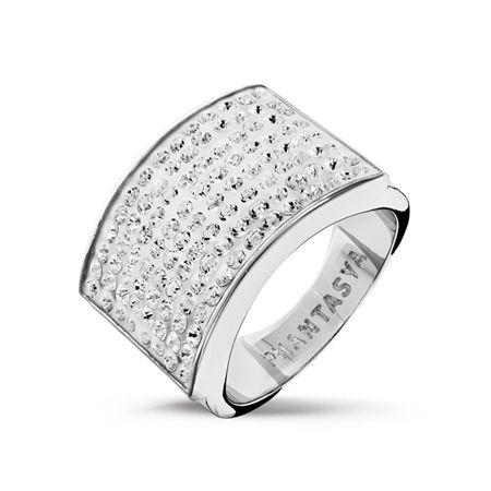 Phantasya Swarovski Elements Wide Band Ring White