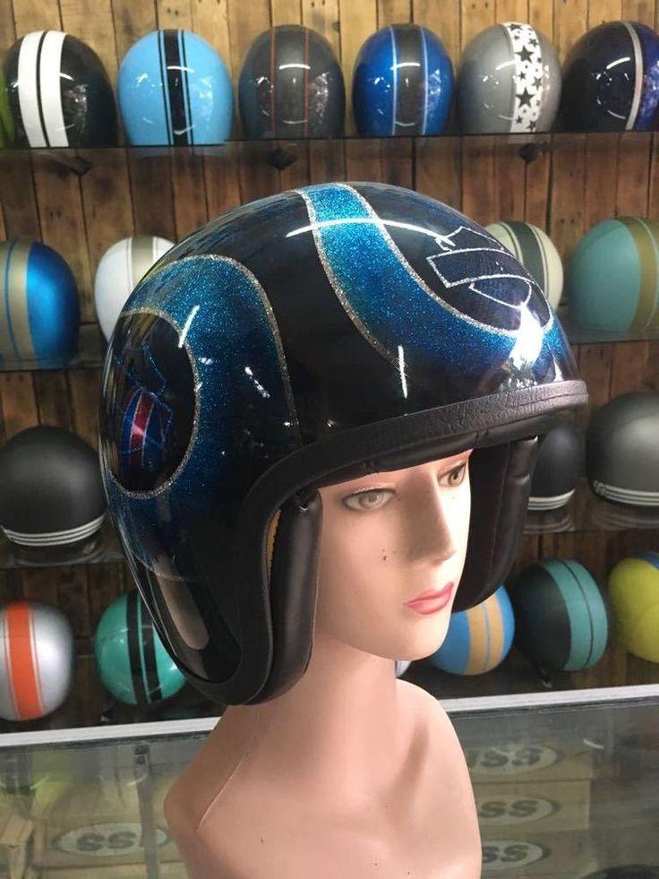 Custom Motorcycle Half Helmet With Blue Harley Davidson Skull AirBrush Painted #Unbranded #Motorcycle