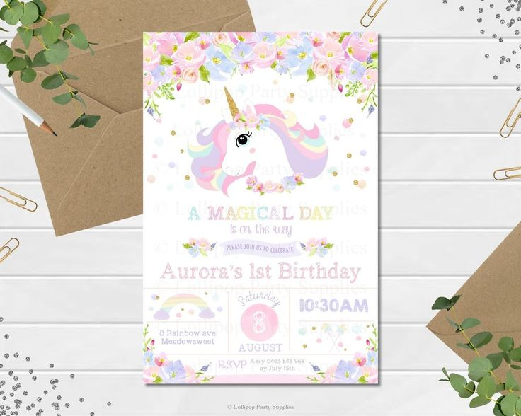 UNICORN INVITATION INVITE 1ST FIRST BIRTHDAY PARTY PASTEL RAINBOW FLORAL ANY AGE
