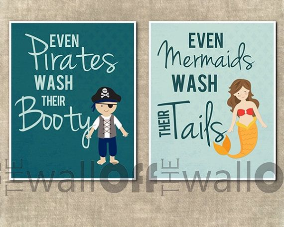 """Pirate Mermaid Bathroom Art Prints - Set of 2 8x10 - """"Even Pirates Wash Their Booty, Even Mermaids Wash Their Tail"""" Like this."""