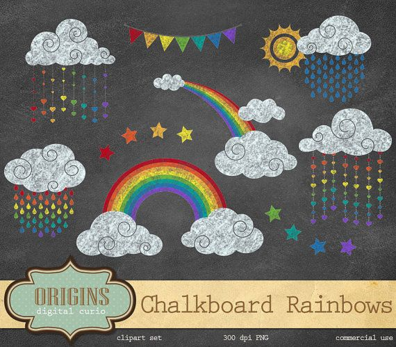 Chalkboard Rainbow Clipart, Rainbow Clip Art, clouds, weather clipart, rain, chalk rainbow clip art instant download commercial use