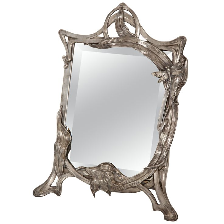 Art Nouveau German Silver Table Mirror | From a unique collection of antique and modern table mirrors at http://www.1stdibs.com/furniture/mirrors/table-mirrors/