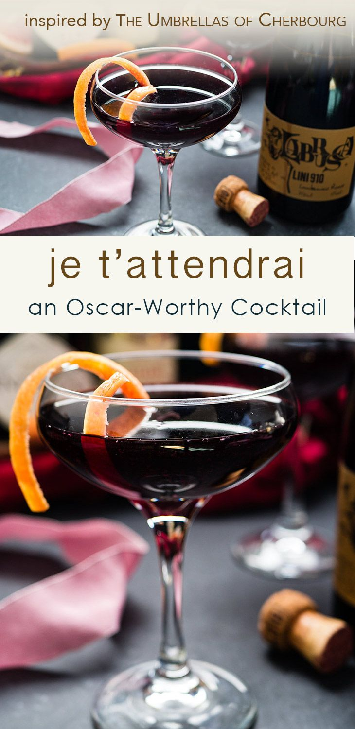 The Je T'Attendrai | A luscious cocktail made with grapefruit-infused gin, Lillet Rouge and Lambrusco. Sponsored by Drizly. via @midlifecroissnt