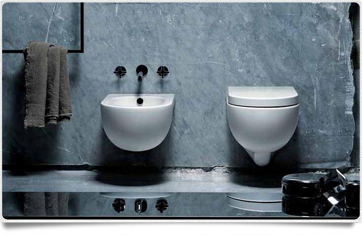 Sanitari sospesi compatti Azzurra mini Nuvola wc + bidet + sedile minimal design