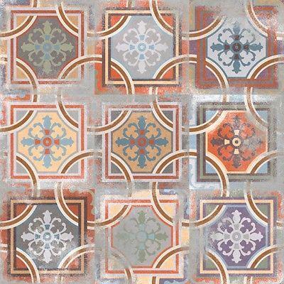 Dekor Bodenfliesen 20 x 20cm Vives Comillas  Muster Boden Fliesen Castelo Retro