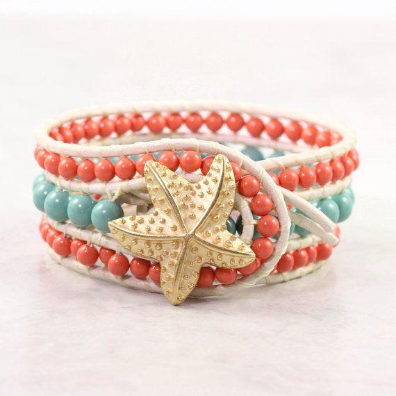 Leather Cuff Bracelet Bohemian Style Wrap Bracelet White Coral Jade Pearl Boho Jewelry Made To Order Custom Starfish Beach Fashion