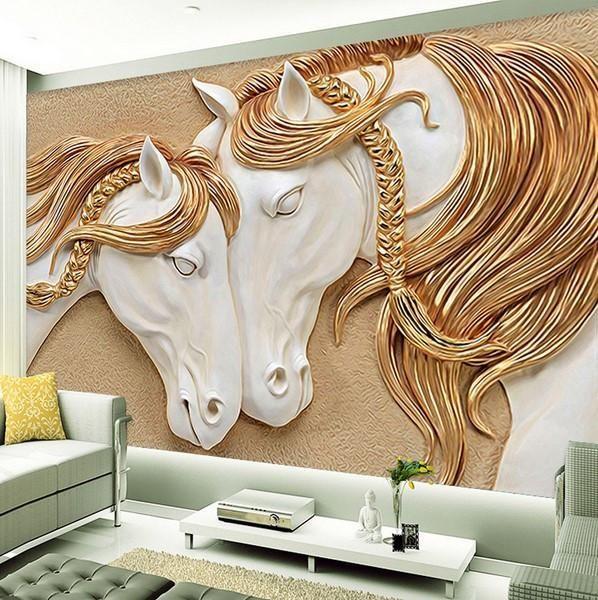 Elegant Embossed Gold Horse Pair Wallpaper White Elegant 3d Embossed Horse Pair White Gold Wallpaper In 2020 Mit Bildern Tapete Wohnzimmer Tapeten Wandbilder