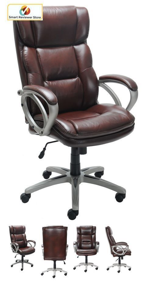 Broyhill Bonded Large Leather Desk Chair Office Arms Wheels Executive Brown Seat Generic Executivemanagerialchair