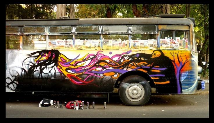 Abandoned electric bus in La Roma neighborhood