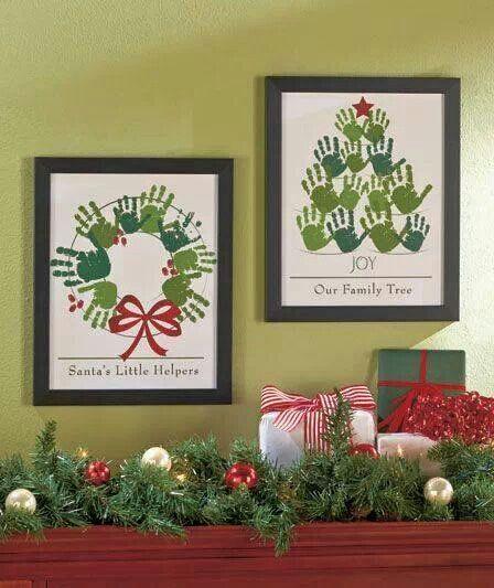 Holiday hand print wall art