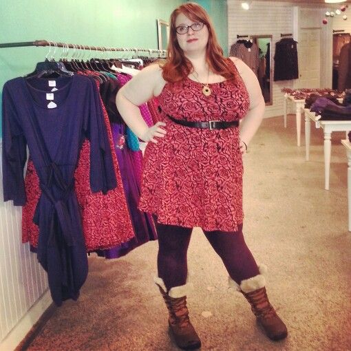 Kayla is rocking our coral roses mini dress with her purple jeggings! So much fun colour - Plus Size - Curvy Fashion - Bold - Unique - Renegade