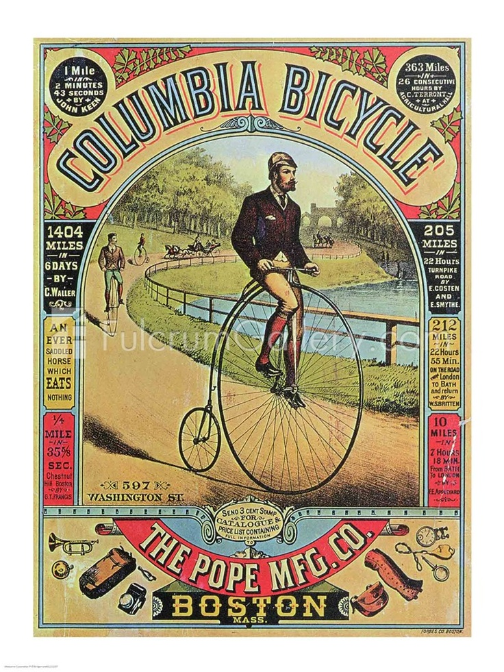 Late 1800's Columbia Bicycle Hi-Wheel Ad Poster.