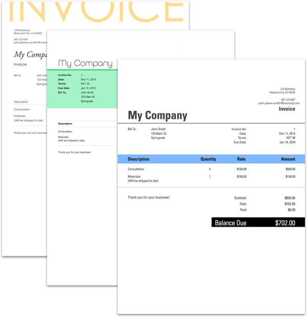 Invoice2gou0027s Free Invoice Generator - Create Free Invoice with - create free invoice template