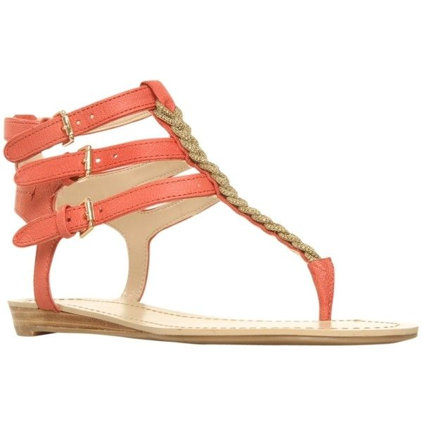 Nine West Whatuwant Leather Sandals, Salmon ($61) ❤ liked on Polyvore featuring shoes, sandals, flats, zapatos, sapatos, low wedge sandals, summer wedge sandals, ankle strap wedge sandals, nine west sandals and leather sandals