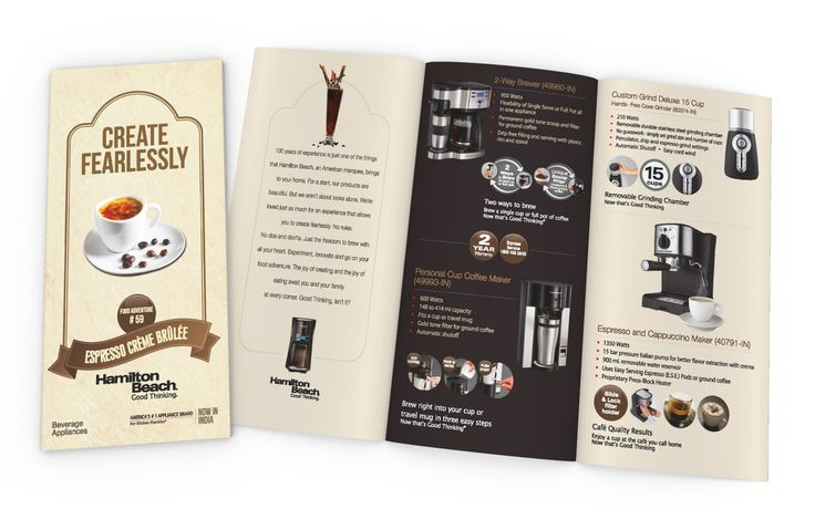 Product Catalog (Beverages) Design for HAMILTON BEACH BRANDS (USA)