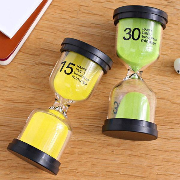 1/3/5/10/15/30 Minutes Sandglass Hourglass Kitchen Timer Clock Children Learning Timer Table Deco is Optional