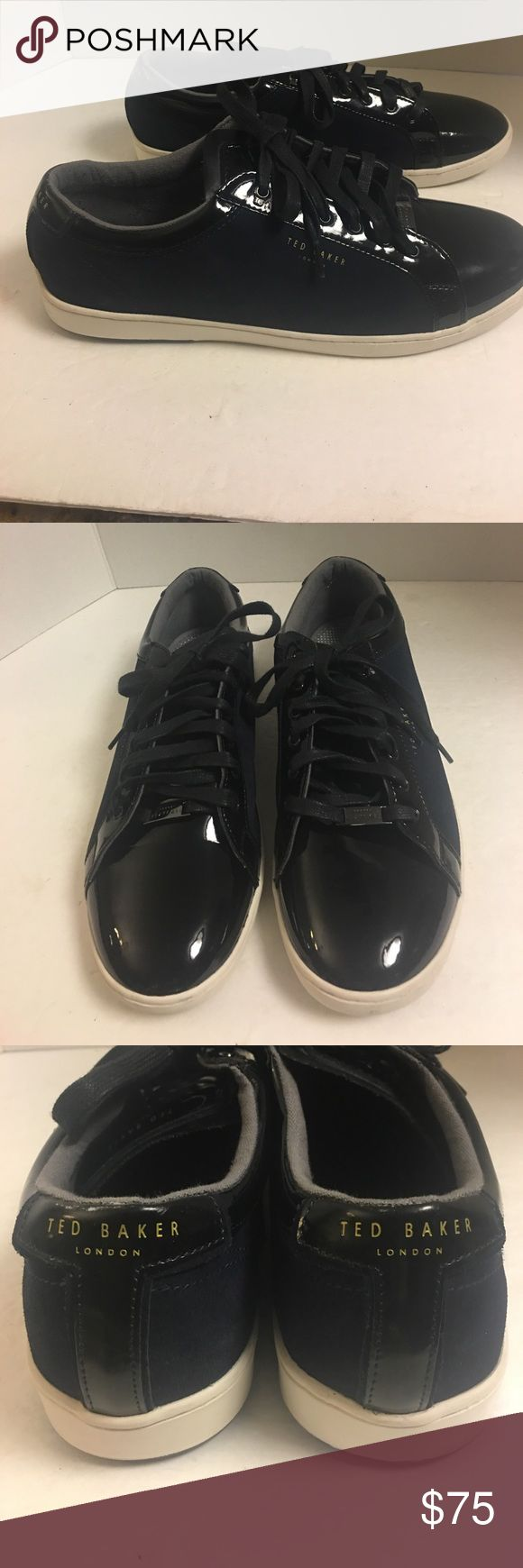 Ted Baker black navy patent leather trainers Super nice pair of men's preowned Ted Baker Navy trainers with black patent leather trim. Lisa. Rubber soul. Size 12. Great preowned condition Ted Baker London Shoes Athletic Shoes