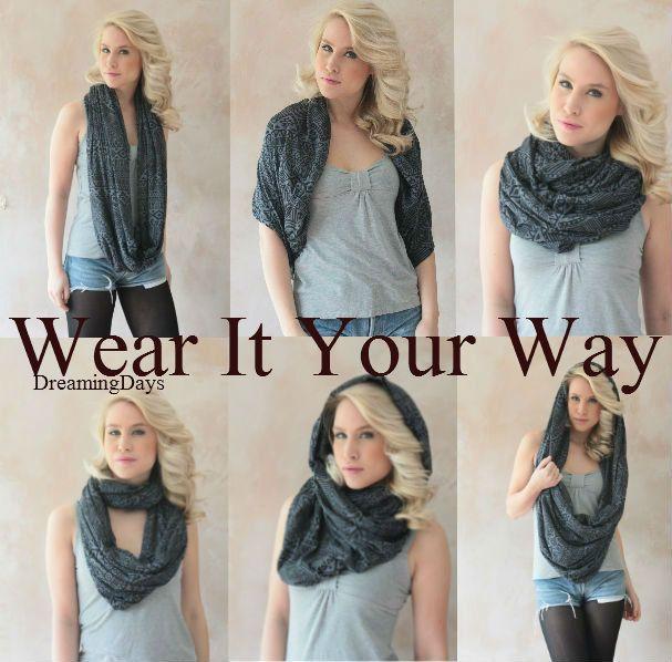 Eternity scarf, Circle scarf, Infinity, Jersey scarf, Tube scarf, Loop scarf, Snood,T-Shirt scarves - Aztec print scarf. $24.25, via Etsy.
