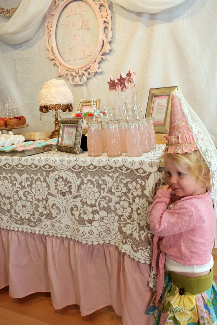 love all but the pink of this shabby chic vintage party lace table cloth idea
