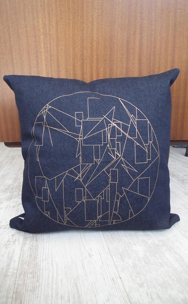Geometric Scatter Cushion - Gold silk screen print on denim. www.unwrapped.co.za