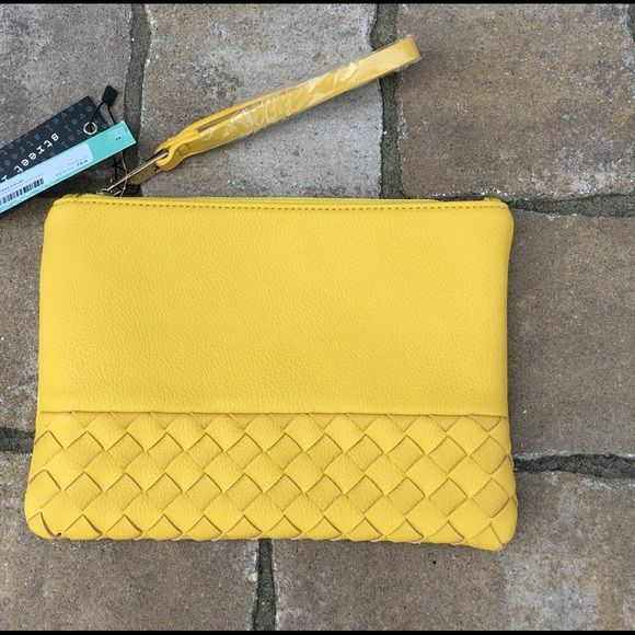 "Yellow Clutch, NWT Street Level (boutique brand) yellow clutch from Stitch Fix. Weave pattern on bottom of the front. Shell is 100% polyurethane. 10.25"" x 7.5"" Street Level Bags Clutches & Wristlets"