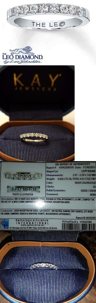 Wedding rings: Leo Diamond Wedding Band 14K White Gold BUY IT NOW ONLY: $800.0