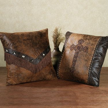 Southwest Ridge Decorative Pillows Squares, Brown and Southwest decor