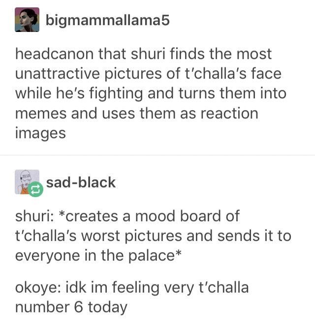 Black panther marvel shuri t'challa reaction meme Dora milaje group chat